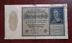 Németország 10000 Márka 1922, Vg.