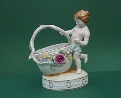 Német PMP GDR Schierholz Plaue porcelán puttó virágos kosárral asztalközép ékszertartó cukortartó
