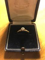 Régi 18 karátos arany gyűrű,brilliánssal!