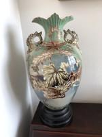 Óriás antik porcelán padlóváza, fa talpon