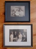 Századfordulós régi képek, fotók keretben, családi kép kutyával