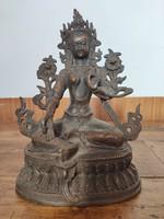 Régi Buddha szobor. Zöld Tara ábrázolás.