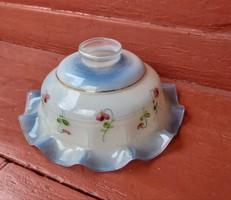 Régi üveg  konyhai fodros , kék , virágos Ibolyás  lámpabúra, nosztalgia, paraszti dekoráció