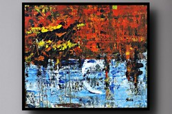 """""""Fire and Water"""" koso painting, huge 91 x 110 cm, framed action"""