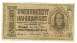 200 karbowanez 1942 Német megszállás Ukrajna 1.