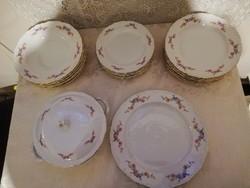 Eladó régi porcelán Kahla német viragos 6 személyes étkészlet vitrin állapot