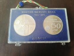 Magyar nemzeti Bank Ezüst 50+100 Forint 1974 PP Banki csomagolásban!