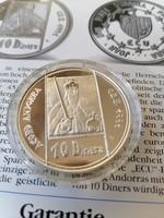 Andorra  Ezüst 10 Dinar 1 ecu 1992 PP  + tájékoztató