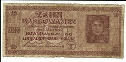 10 karbowanez 1942 Német megszállás Ukrajna 1.