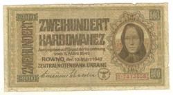 200 karbowanez 1942 Német megszállás Ukrajna 2. eredeti tartás
