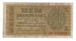 1 karbowanez 1942 Német megszállás Ukrajna