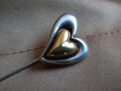 """Szívecskés- """"Szív a szívben"""" ezüst kalaptű"""