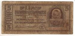 5 karbowanez 1942 Német megszállás Ukrajna