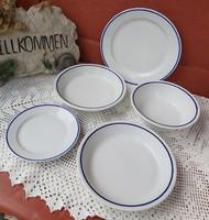 5 db Alföldi kékcsíkos tányérok, tányér, nosztalgia darabok