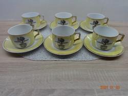 Régi Zsolnay porcelán Braun Salvator kávés vagy teás készlet: 6 db csésze + 8 db alátét kistányér