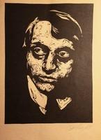 Bortnyik Sándor : Fametszet. Papír .Mérete:18x23 cm.