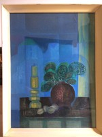 Garabuczy Ágnes festmény, Csendélet. Címe: Ablakban. Képcsarnokos