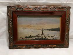 P.K. 1905 jelzéssel olaj-fa festmény, zarándokhely, szép keret