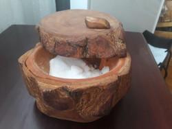 Rusztikus,falusi- paraszti sótartó-kézzel készitett fedeles sótartó