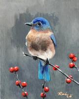 Január - akrilfestmény - madár