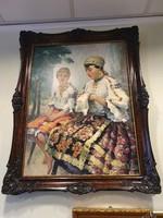 Pécsi-Pich Jenő (1888 -1949) Sokac lányok - festmény