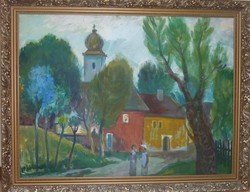 SZAMOSVÁRI JÓZSEF: Nyíregyháza - olajfestmény, 60x80 cm (utcakép város templom színpompás)