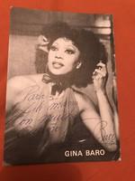 Gina Baro dedikált emléklap