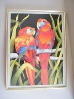 Nagyon szép, selyemre festett madaras kép keretben
