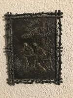 Antik jelenetes ón kép 24×19 cm áttört széllel különleges darab.