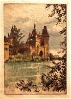 D. Rau: Vajdahunyadvár - színes rézkarc