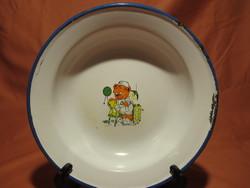Maci mintás régi Bonyhádi zománcos tányér