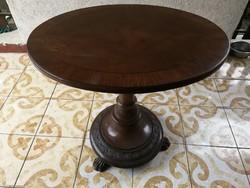 Ovális robosztus asztal állvány, faragott, nagyon dekoratív szép antik  darab.