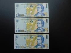 Románia 3 darab 1000 lei 1998 Sorszámkövető !!!