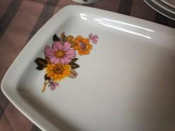 Retro alföldi porcelánok, jelzett, dália virágos tál