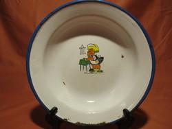Régi Bonyhádi zománcos tányér kislány mintával
