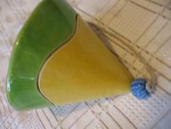 Kézműves kerámia harang zöld-sárga