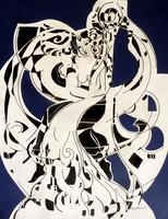Sütő Éva: Gondörvény (vegyes technika-karton) 70x50 cm