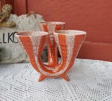 Retro Gyönyörű ritka Gorka sárga, narancssárga 3 ágú ,háromágú váza  Gyűjtői darab, nosztalgia