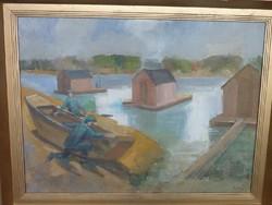 ROZS JÁNOS: Halászbárkák (olaj, vászon, 60x80 cm, Képcsarnok) Szőnyi és Aba Novák tanítványa