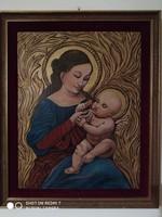 Olajfestmény ikon jellegű (Madonna a kisded Jézussal) (Kurdy Ilona)