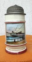 Antik bíeder korsó porcelán sörös,kézi festett,Passau jelenettel díszes ónfedél ,prosit,Gyüjtemény !