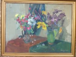 ZIRKELBACH: Csendélet (Képcsarnokos, 1964, olajfestmény kerettel 60x80 cm) cifra virágok, vidám