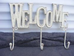 Öntöttvas akasztó WELCOME (üdvözlet) felirattal fehér