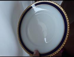 Rosenthal antik  porcelán süteményes készlet kobaltkék-arany dekorral,11 db, gyűjteménybe, ajándékba