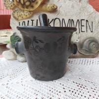 Karcagi kerámia  virágos fekete ritka mozsár. Gyűjtői darab