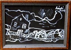 Szántó Piroska: Téli táj házzal - egyedi festmény keretben