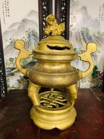 Régi kínai réz Fo kutyás füstölőtartó, kelet, ázsiai, japán