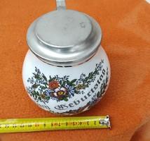 Zum Gebustag,Születésnapra! ajàndéknak dekoráció,és gyüjteménybe, ón fedeles porcelán kupa !Jelz