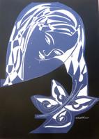 Sütő Éva: Búcsú a kék pillangótól (vegyes technika-karton) 70x50 cm