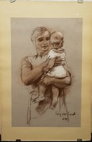 Fejér Csaba (1936-2002): Anya gyermekével 69eft.